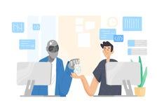 Robot y hombre que se sientan en los ordenadores y que trabajan junto en la oficina Cooperación, ayuda y amistad entre el individ libre illustration