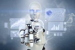 Robot y pantalla táctil Imágenes de archivo libres de regalías