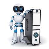Robot y PC blancos Fotografía de archivo libre de regalías