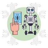 Robot y Smartphone ilustración del vector