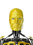 Robot with yellow face. Closeup of robot or android with yellow face isolated on white background stock photos