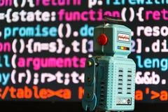 Robot z źródło kodu ekranem, sztuczna inteligencja, głęboki uczenie pojęcie zdjęcie royalty free