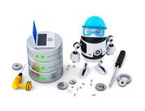Robot z bazą danych pojęcia odosobniony technologii biel odosobniony Ścinek ścieżka Obraz Royalty Free