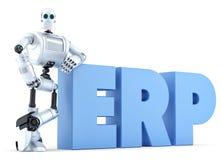 Robot z ERP znakiem błękitnawego biznesowego pojęcia delikatnego ostrości klawiaturowego laptopu luksusowa wisząca ozdoba nad tel Obraz Stock