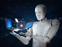 Robot z gadżetem Fotografia Royalty Free