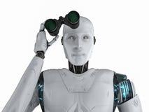 Robot z lornetkami royalty ilustracja