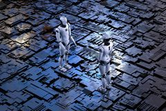 Robot z metal podłoga ilustracji