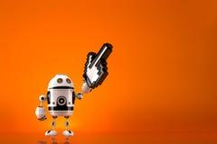 Robot z pixelated pointerem Zawiera ścinek ścieżkę Fotografia Stock