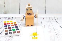 Robot z ręk farbami sztuczna inteligencja obrazy royalty free