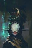 Robot z sztuczną twarzą Zdjęcia Royalty Free