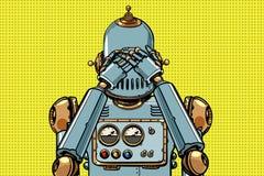 Robot zakrywał jego oczy royalty ilustracja