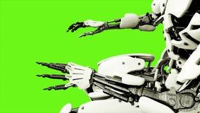 Robota android bawić się pianino Realistyczny ruch na zieleń ekranie świadczenia 3 d royalty ilustracja