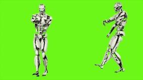 Robota android jest dancingowym hip hop Realistyczny zapętlający ruch na zielonym parawanowym tle 4K
