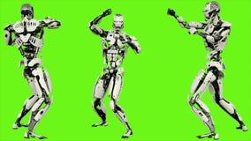 Robota android jest przedstawieniami twój walczące umiejętności Realistyczny zapętlający ruch na zielonym parawanowym tle 4K