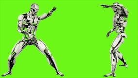Robota android jest przedstawieniami twój walczących umiejętności Realistyczny zapętlający ruch na zielonym parawanowym tle świad royalty ilustracja