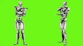 Robota android jest ręki rozciąganiem Realistyczny zapętlający ruch na zielonym parawanowym tle świadczenia 3 d royalty ilustracja