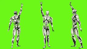 Robota android macha powitanie Realistyczny zapętlający ruch na zielonym parawanowym tle świadczenia 3 d ilustracji
