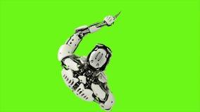 Robota android naciska klucze Realistyczny zapętlający ruch na zielonym parawanowym tle świadczenia 3 d ilustracja wektor