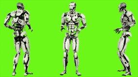 Robota android okaleczający Realistyczny ruch na zieleń ekranie świadczenia 3 d royalty ilustracja
