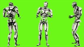 Robota android okaleczający Realistyczny zapętlający ruch na zielonym parawanowym tle 4K