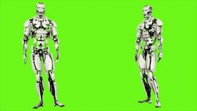 Robota android ono zgadza się Realistyczny zapętlający ruch na zielonym parawanowym tle świadczenia 3 d royalty ilustracja