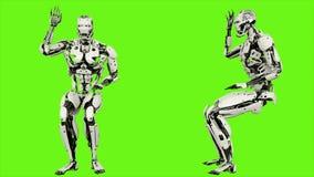 Robota android pyta pytanie Realistyczny zapętlający ruch na zielonym parawanowym tle świadczenia 3 d ilustracji