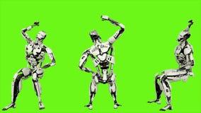 Robota android siedzący rozwesela podczas gdy Realistyczny zapętlający ruch na zielonym parawanowym tle świadczenia 3 d royalty ilustracja
