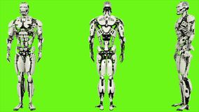 Robota android wchodzić do kod Realistyczny zapętlający ruch na zielonym parawanowym tle świadczenia 3 d ilustracji
