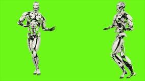 Robota android z pełen wdzięku sposobem chodzenia Realistyczny zapętlający ruch na zielonym parawanowym tle świadczenia 3 d royalty ilustracja