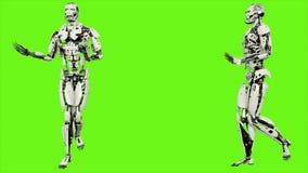 Robota android z pełen wdzięku sposobem chodzenia Realistyczny zapętlający ruch na zielonym parawanowym tle 4K zbiory