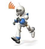 Robota bieg podczas gdy komunikujący Obraz Royalty Free