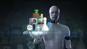Robota cyborga otwarta palma, gemowe zawartość ściąga usługa internetowej funkcję ilustracji
