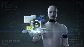 Robota cyborga otwarta palma, różnorodna fotografia, obrazek, kamera socjalny podaniowe zawartość, rozrywek zawartość ilustracji