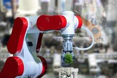 Robota drzewny środowiskowy Przemysłowy drzewo w ręki przyszłości obraz royalty free