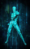Robota holograma obwodu turkus Zdjęcia Stock