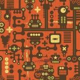 Robota i potworów bezszwowy wzór na czerwieni. Zdjęcia Stock
