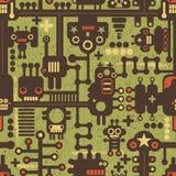 Robota i potworów bezszwowy wzór na zieleni. Zdjęcia Stock