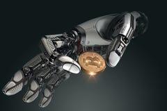 Robota mienia bitcoin z palcami w machinalnej ręce Zdjęcia Stock