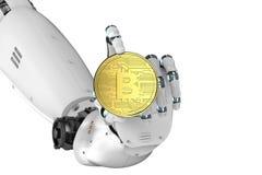 Robota mienia złota bitcoin Fotografia Stock