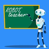 Robota nauczyciel Pisze Na Blackboard wektorze button ręce s push odizolowana początku ilustracyjna kobieta ilustracji
