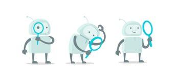 Robota obcy charakter z magnifier loupe setem Z powiększać - szklana rewizja Płaskiego koloru ilustraci wektorowy zapas ilustracja wektor