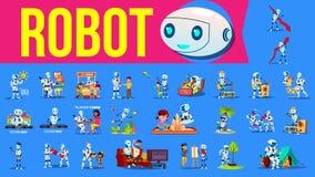 Robota pomagiera Ustalony wektor Przyszłościowe styl życia sytuacje Pracować, Komunikuje Wpólnie Cyborg, AI Futurystyczny Humanoi royalty ilustracja