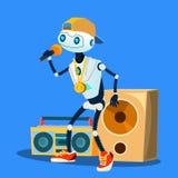 Robota raper W nakrętce, szkłach I breloczku Na klatka piersiowa wektorze, button ręce s push odizolowana początku ilustracyjna k ilustracja wektor