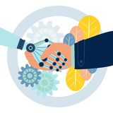 Robota uścisku dłoni wektoru ilustracja royalty ilustracja