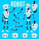 Robota wektor Animaci tworzenia set Futurystyczny mechanizm technologii robota pomagier Animowana Sztuczna inteligencja royalty ilustracja