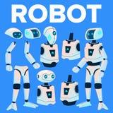 Robota wektor Animaci tworzenia set Nowożytny robota pomagier Głowa, twarz, Gestykuluje Animowana Sztuczna inteligencja dla ilustracji