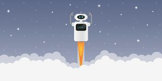 Robota wodowanie w przestrzeń z gwiaździstym niebem ilustracja wektor