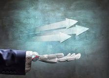 Robotachtig dien kostuum in toont vastberaden pijlen het 3d teruggeven Stock Foto