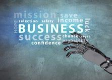 Robotachtig handpunt op bedrijfswoordwolk Royalty-vrije Stock Foto