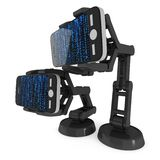 Robotachtig wapen met binaire 3d code stock illustratie